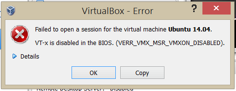 VT-x is disabled in the BIOS