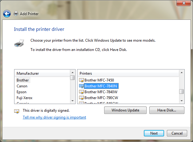 Adding the brother mfc-7820n network printer to windows 7.