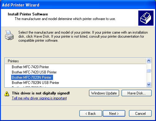 Adding the Brother MFC-7820N Network Printer to Windows XP
