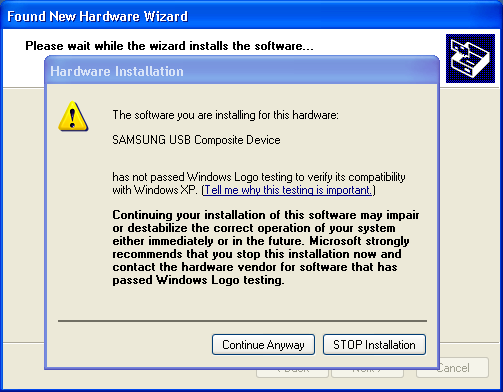 Connect windows xp computer to the internet using the samsung.
